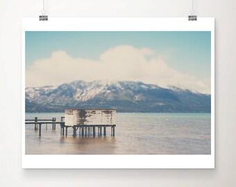 Lake Tahoe photograph mountains photograph dock photograph California photograph Lake Tahoe print landscape photograph
