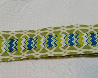 Chevron Ribbon and Lime Fabric Keychain
