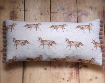 Fox cushion cover with big bobble trim