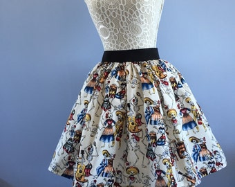 Ladies or girls Mexican Day of the dead full skater style skirt