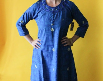 Vintage Caftan Tunic Dress - Blue Silk With Elaborate Bead and Embroidery Work around Collar - Indian Pakistani Ethnic