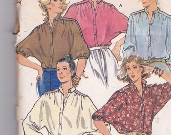 Butterick 6252 Vintage Pattern Womens Blouse in 5 Styles  Size 8