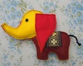 Litte red and yellow elephant Handmade plush felt toy Made using an original 1970s vintage pattern
