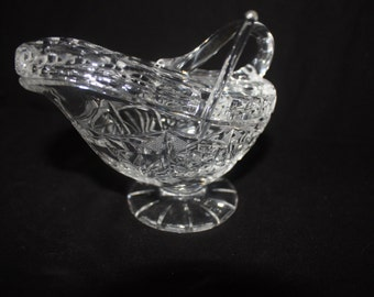 Vintage Cut Glass Crystal Sauce Bowl with Lid and Spoon