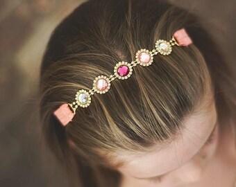 "The ""Penelope"" Shades of Pink Rhinestone Connector Headband, Infant Headband, Toddler Headband, Girls Headband"