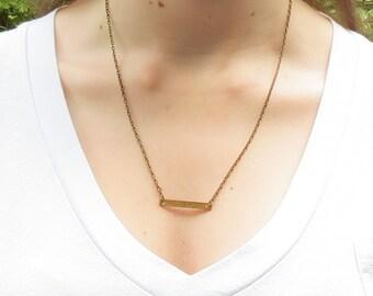 Bar Necklace, brass bar necklace, pendant necklace, layering necklace