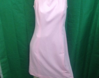 Vintage Homemade Dress / Hand Made / Pink / Polyester / Size 12 / 1970's