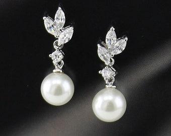 "Bridal Earrings ""Cubic Zirconia""  Wedding Earrings Wedding Jewelry Bridal Jewelry ""Pearl"" Drop Earrings Style-620"