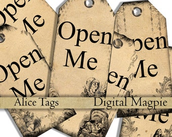 Alice in Wonderland printable tags digital download Open Me gift tags Alice party instant download