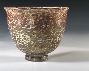 Handblown Glass Bowl, Chalcedony on Florence . Iridescent. 05_19F_15