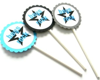 12 Boys Rock Cupcake Toppers, Star Toppers, First Birthday, Band Theme, Guitar Theme, Rockstar Birthday, Baby Shower, Star Birthday, Party