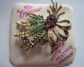 Vintage Signed Exquisite Lucky White Heather Brooch/Pin Pink Stones