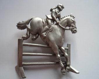 Vintage Signed JJ Silver pewter Horse Jumper Brooch/Pin
