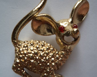 Vintage Unsigned Goldtone/Faux Pearl Mouse Brooch/Pin