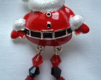 Vintage Unsigned  Sparkling Santa with Dangling Beaded Legs Brooch/Pin