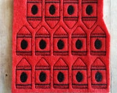 Red Crayon Felties, Acrylic Felt with Black Embroidery, Uncut Set of 14, Ready to Ship, Great for Hair Bow Centers and Scrapbooking