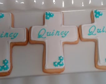 Cross Cookies with Personalized  Name