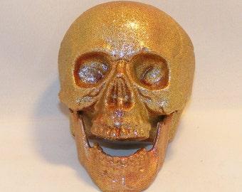 Red Glitter Lightweight Skull, Piggy Bank Decorative Skull Skeleton Goth Ghoulish Death