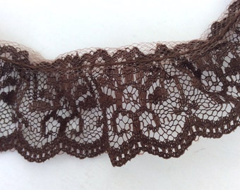 "Brown Lace, 1 1/4"" Vintage Brown Lace, 2 Yards, Ruffled Lace"