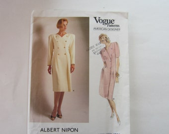 Uncut Vogue 1805 Vintage Double Breasted Dress by Albert Nipon Pattern Size 14, American Designer Albert Nipon Vogue Dress Pattern