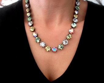 Swarovski, Springles, Swarovski crystal Necklace, Tennis, 10mm, Pastel, Long Necklace, Choker,SS47, Cupchain, Vintage