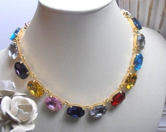 Swarovski Crystal Necklace, Anna Wintour inspired Necklace, 13x18mm, Collet, Oval Cabochons, 14K Gold plated,
