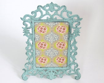 Cottage Chic Metal Frame w glass // table top teal green blue // pretty cottage distressed decorative metal  // picture ornate wedding decor