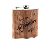 Real wood wrapped flask, Personalized Travel gift flask, Adventurer