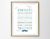 Brother Quote... for a Little Boys Nursery/Bedroom - Brothers Print - Boys Playroom Decor- Instant Download Wall Art - Print at Home