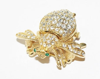 Joan Rivers Watch Pin - Large Bee Watch Pin Crystal - Highly Collectible - S1980