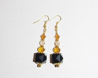 Handmade Pierced Earrings Black and Amber - MB214-S