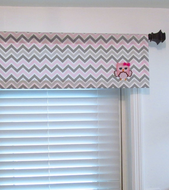 Items Similar To Owl Valance Baby 39 S Nursery Curtain Pink Gray White Chevron Applique Patch