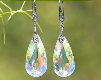 Genuine Swarovski Crystals, Sterling Silver, Bridal Earrings, Wedding Jewelry, Teardrop, AB Swarovski Earrings, Bridesmaids gift - DK174