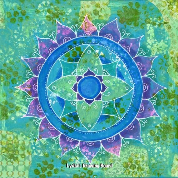Mandala Art, Mandala Wall Art, Mandala Print, Mandala, Meditation Art, Turquoise Art, Yoga Studio Decor, Peaceful Art, Sacred Geometry Art