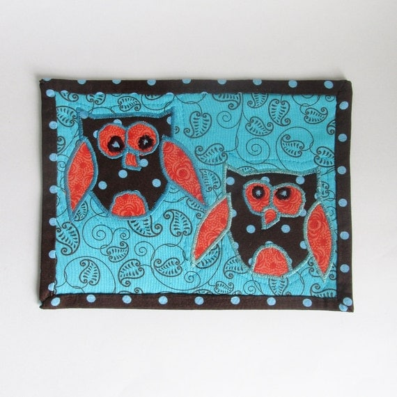 Owl Mug Rug Brown Turquoise And Orange Polka Dot