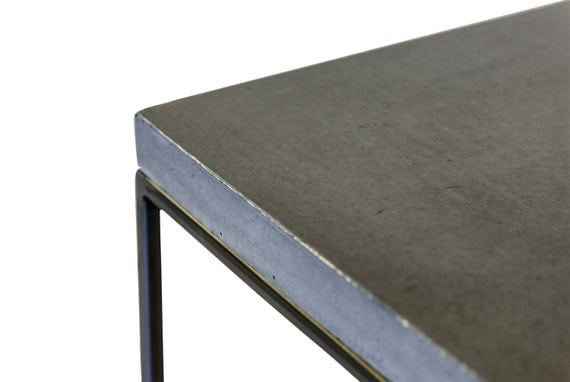 Concrete topped 23 5 extra tall bedside table by for Extra tall nightstands