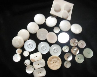 Buttons White Buttons - Lot of 34