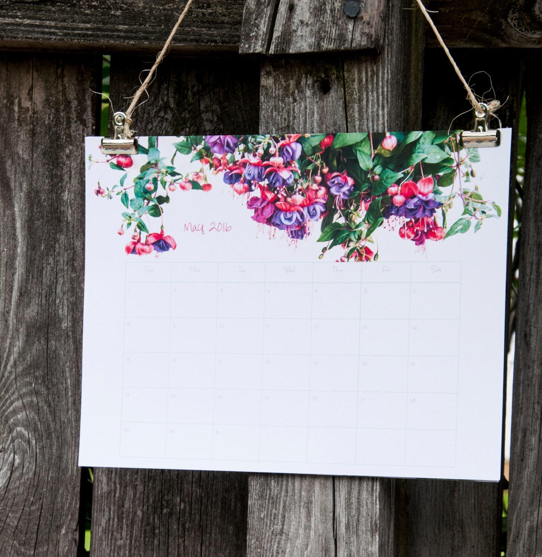 Wall Calendar 2017 2017 Calendar with Field of Flowers Large