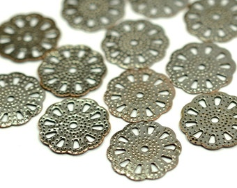 50 Pcs. Antique Copper 16 mm Round Filigree Charms