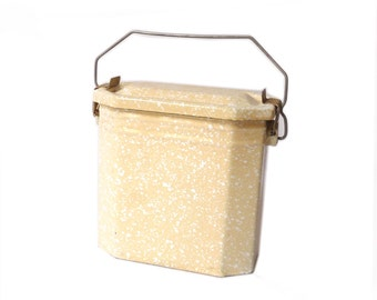 Enamel Lunch Pail Lunch Box Creamy and White Workers Lunch Box H 14,5 cm