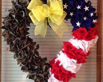 Half of my Heart is Deployed USMC/Flag rag wreath