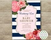 Baby Shower Invitation/Floral and navy Invitation/Shabby Floral Baby Shower/Printable/Bridal Shower/Wedding Invitation/Adult Birthday Invite