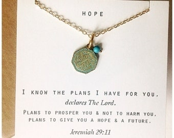 I know the plans I have for you... Daily Reminder Necklace.  Gifts for her, encouragement gift, sympathy gift