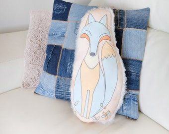 Cushion Fox for room d child or adult, faux fur, fabric cotton blue and beige