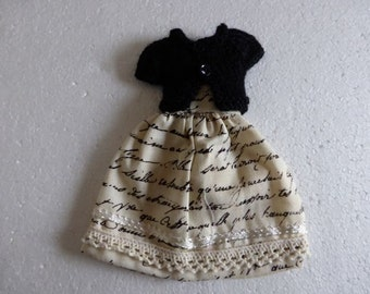 Hand Made Neo Blythe or Bratz Doll Black Cream French Script Print Dress with Ric Rac Trim and Matching Black Knitted Short Sleeve Cardy