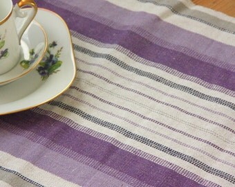 Beautiful handwovenpurple tablerunner in linen/cotton from Sweden