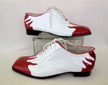 Mens ROCKABILLY OXFORDS/Two Tone Flame Shoes/Lace Ups/Flaming Hot Rod Shoes/Mens Vinyl Shoes/Unique Shoes/Retro 60s Shoes Size 12.5-13 Wide