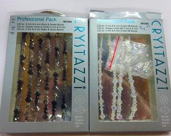 Crystal Beads - Crystazzi Professional Packs - AB Crystal Bicones - Black & Smoke Crystal Bicones