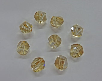 Crystal Beads - Swarovski Gold Shadow Crystals - Austrian Crystals - 8mm and 10mm Round Crystals