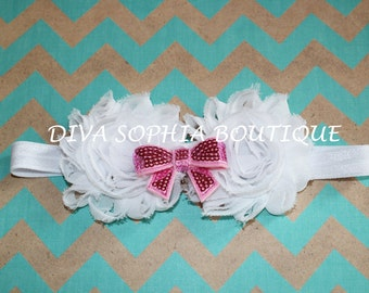 White Chiffon Flower Headband with Pink Bow